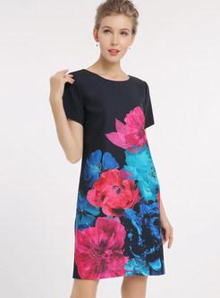 Elegant High Waist Print Skater Dress