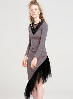 Street V-neck Mesh Asymmetric Hem Bodycon Dress