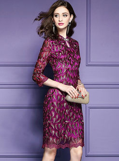 Vintage Improved Cheongsam Embroidered Bodycon Dress