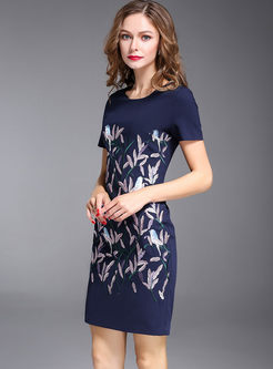 Brief Print Short Sleeve Bodycon Dress