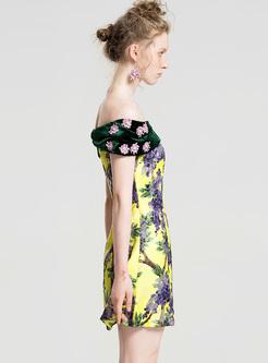 Sexy Slash Neck Print Mini A-line Dress