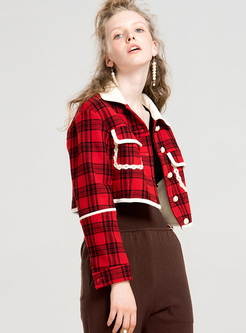 Street Grid Color-blocked Lapel Mini Coat