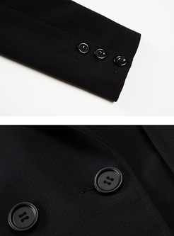 Black Slim V-neck Double-breasted Blazer