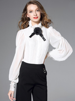 Court Lantern Sleeve Stand Collar Blouse