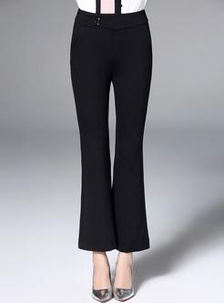 Black High Waist Slim Flare Pants