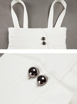White Beaded High Waist Overalls
