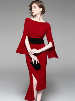 Red Flare Sleeve Asymmetric Hem Sheath Dress