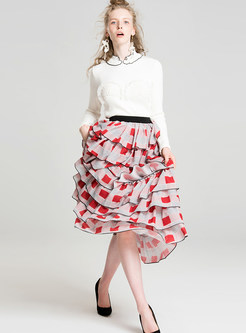Sweet Tiered-hem High Waist Skirt
