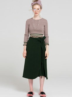 Brief Belted Pure Color Skirt