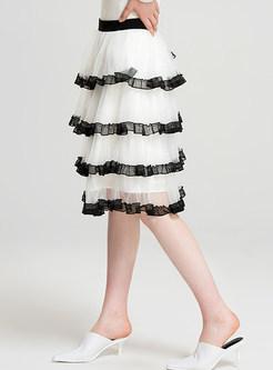 Cute Gauze Tiered-hem High Waist Skirt