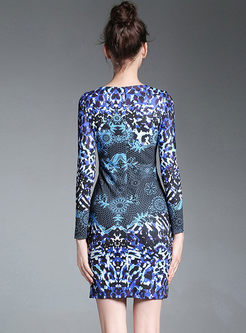 Blue Floral Print Long Sleeve Bodycon Dress