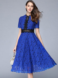 Lace Openwork Big Hem Skater Dress