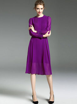 b54552f0ad ... Purple Chiffon Gathered Waist Long Sleeve Skater Dress ...