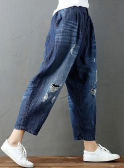 Watercolor Hole Elastic Waist Denim Wide Leg Pants