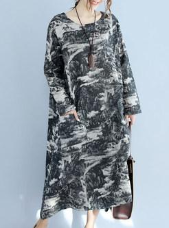 Ethnic Cotton Long Sleeve Shift Dress