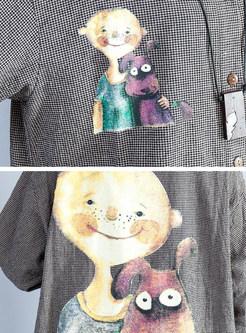 Cute Cartoon Design Checked Coat