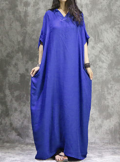 Chic Loose Batwing Sleeve V-neck Maxi Dress