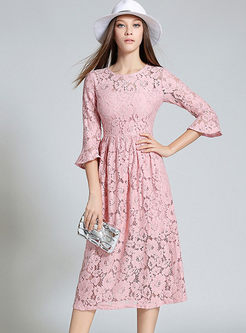 Sweet Lace Hollow Out Flare Sleeve Skater Dress