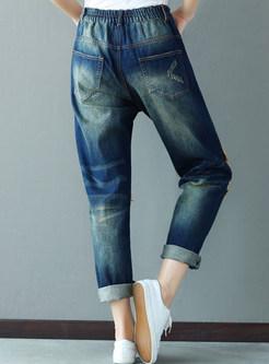 Casual Patch Wash Denim Pants