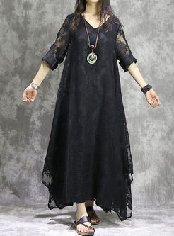 Silk Embroidered Long Sleeve Asymmetry Hem Maxi Dress
