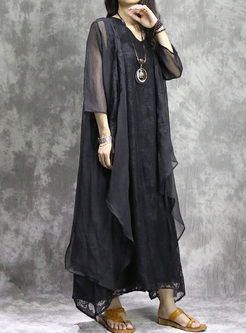 Loose Asymmetry Embroidered Long Sleeve Coat