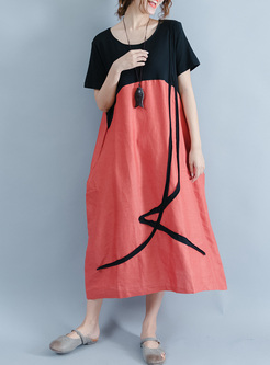 Casual Color-blocked T-shirt Dress