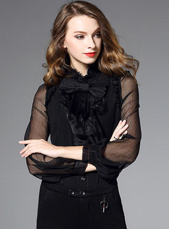 Bowknot Mock Neck Falbala Blouse With Camisole