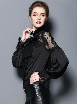 Mock Neck Lantern Sleeve Lace Bowknot Blouse