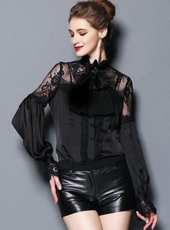 Chic Lantern Sleeve Lace Bowknot Blouse