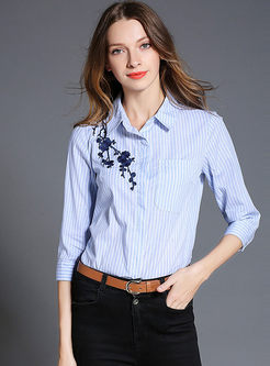 Stylish Striped Embroidered Turn Down Collar Blouse