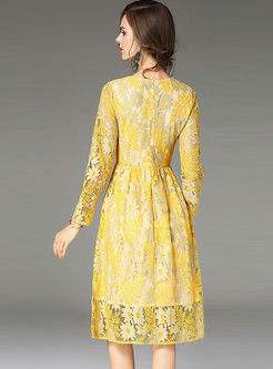 53fa7cf193 Yellow Embroidered Lace Long Sleeve Skater Dress Yellow Embroidered Lace  Long Sleeve Skater Dress ...