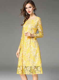 b9c9282383 ... Yellow Embroidered Lace Long Sleeve Skater Dress ...