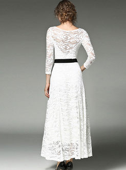 Lace Openwork Belted Long Sleeve Maxi Dress