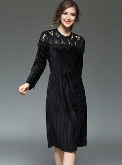 Lace Splicing Velvet Gathered Waist Pleated Skater Dress
