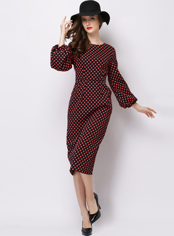 Elegant Lantern Sleeve Dot Print Bodycon Dress