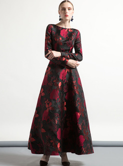 Street Rose Print Big Hem Maxi Dress
