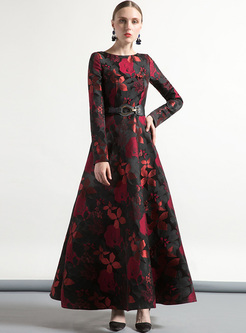 Street Rose Print Big Hem Maxi Dress