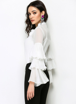 White Layered Sleeve Tied-collar Blouse