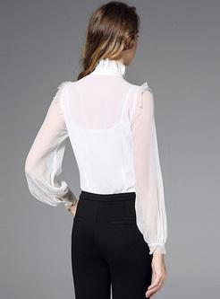 White Falbala Bowknot-collar Blouse