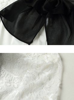 Court Lantern Sleeve Lace Bowknot Blouse