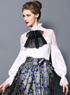 Court Lantern Sleeve Lace Bowknot Blouse