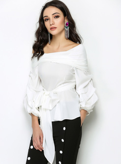 White Elegant Slash Neck Lantern Sleeve Blouse