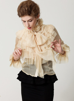 Court Tied-collar Falbala Flare Sleeve Blouse