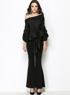 Off Shoulder Lantern Sleeve Blouse