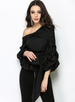 Black One Shoulder Lantern Sleeve Blouse