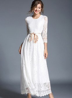 White Tie Waist Hollow Out Maxi Dress
