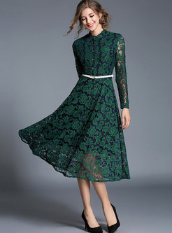 Long Sleeve Lace Skater Dress With Black Belt