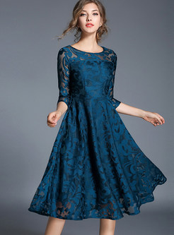 Sexy See-through Lace Skater Dress