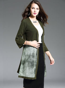 Casual Print Loose Flare Sleeve Knitted Coat