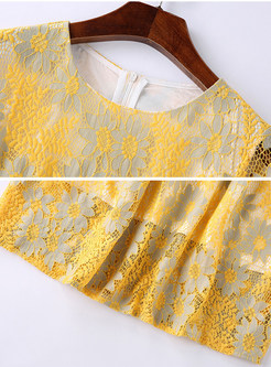Sweet Yellow Lace Hollow Out Skater Dress